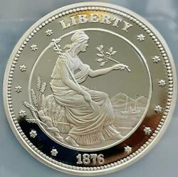 Super Large Silver Coin Published 1876 Reprint Board 2011 Rice Morgan 100 Ngc