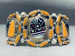 Best Vintage Navajo Outer Space Turquoise Inlay Shell Sterling Silver Bracelet