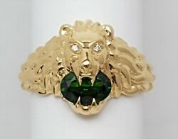18kt Yellow Gold Lion Head Ring With Green Chrome Diopside Stone Size 13