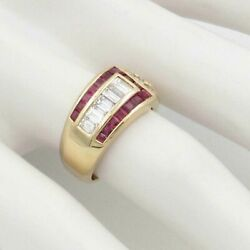 Estate 18k Yellow Gold Square Cut Ruby And .95ct Diamond Buckle Ring