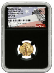 2021 5 1/10 Oz Gold American Eagle Type 2 Ngc Ms70 Fdi Norris Hand Signed