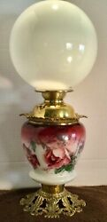 """Antique/victorian Gwtw Floral Working Oil Lamp By Success 22 1/2"""" Tall Base 874"""