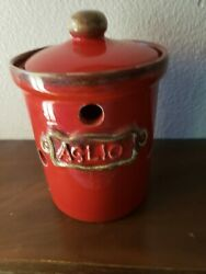 Sur La Table Pottery Garlic Holder Made In Italy Red 6 H Mint Condition