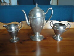 Vintage Academy Silver On Copper Coffee/tea Serving Set / W Creamer And Sugar Bowl