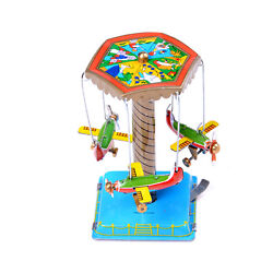 Vintage Wind Up Toys Gift Fairground Carousel Airplane Planes Mechanical Tin To