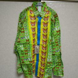Genuine Gianni Versace Shirt Butterfly Green Multicolor Men 46 With Tag Nearmint