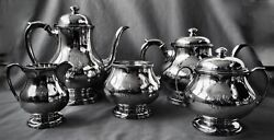 Frank Smith Sterling Silver Tea Set 5pc 97.9 Oz Early Art And Crafts Style C1910
