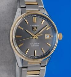 Menand039s Tag Heuer Carrera 18k Gold And Ss Watch - Calibre 5 - Black Dial - War215c