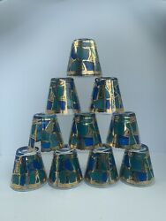 Set Of 10 Georges Briard Blue Gold Europa Glass Old Fashioned Rocks Glasses Mcm