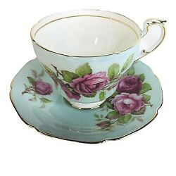 Paragon Tea Cup And Saucer Bone China Footed Blue Cabbage Rose By Appointment