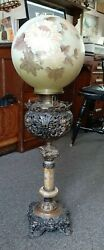 Antique Bradley Hubbard Banquet Oil Lamp Marble Metal Lion Foot, Cupid On Font