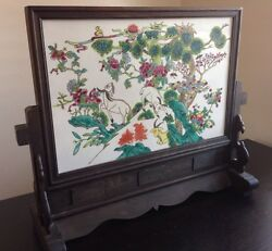 Fine Chinese Antique Porcelain 3 Goats Colorful Tile Plaque W Carved Stand Wow