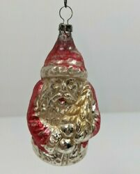 German Antique Glass Belsnickle Santa Figural Christmas Tree Ornament Feather