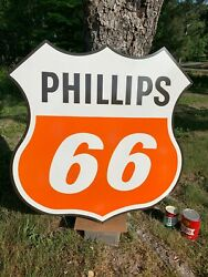 Phillips 66 Large Heavy Porcelain Sign 39x 39 Near Mint Beautiful Sign