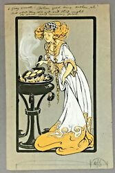 Sarah Noble Ives Signed Original Drawing The Queen Next Morning Fried  C.1910