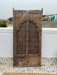 1750and039s Antique Rare Wood Carved Arch Shape Floral Castle 50 X 24and039and039jharoka Door