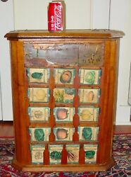 Antique L.l. May Country Store Seed Display Case Cabinet With Product-----15639