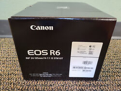 New In Box Canon Eos R6 20.1mp Mirrorless Camera + Rf 24-105mm F4-7.1 Is Stm Kit