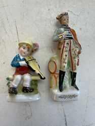 Occupied Japan Lot Of 2 Figurines Porcelain Victorian Style