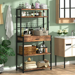 5tier Kitchen Bakers Rack With Hutch Drawer Utility Storage Rack For Home Office