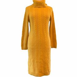Nwt 159 Ann Taylor Turtleneck Cable Knit Sweater Dress Yellow Xs S Sp Petite