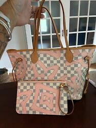 Louis Vuitton Neverfull Mm Damier Azur Tahiti Tote/shoulder Bag With Pouch