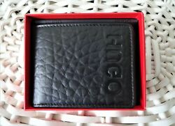 Menand039s Leather Wallet And039hugo Bossand039 Victorian Bifold Black Credit Cardgift Box