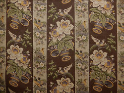 Clarence House La Base Cour- Brown Screen Printed Fabric. 9 Yds+ 11. F-166b