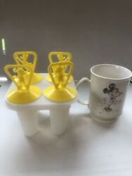 Vintage Disney Popsicle Makers 3 Mickey Mouse/3 Donald Duck -1 Plastic Cup