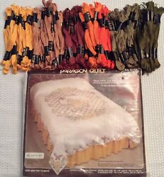 Paragon Quilttop Stamped Embroidery Rose Trellis Dbl Bed+117 Skeins Floss 01101