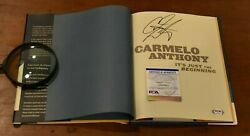 Rare 2004 Carmelo Anthony Signed Itand039s Just The Beginning Book-denver Nuggets-psa