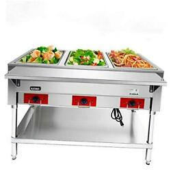 110 V Commercial Electric Food Warmer – 3 Pot Stainless 3 Pot Steam Table