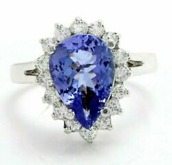 5.00ct Pear Cut Natural Blue Tanzanite Halo Style Engagement Ring 14k White Gold