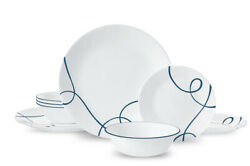New Corelle White And Blue 12-piece Dinnerware Set , Dinner Plates / Dishes Fast