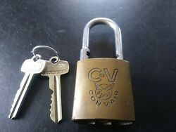 Antique Convair Aircraft Co. Padlock With 2 Orig. Numbered Keys , Control Key