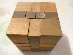 Antique Century Cube Wood Brain Teaser Puzzle - Tough Wooden. Old Toy