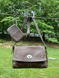 Coach Hamilton Flap-satchel-brown Pebbled Leather-nickel Hardware-and Wristlet