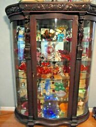 Antique Horne Curved Glass China Cabinet Figural And Claw Feet Was Kate Smith's