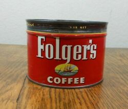 Vintage 1 Lb. Tin Key Open Folgers Coffee With The Clipper Ship On The Label