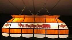 Vintage Budweiser Clydesdale Stained Glass Pool Table Lamp