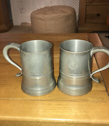 Pair Antique Crown And Rose Tankards English Cast Pewter Glass Bottom 1873 Golf