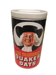Old Fashioned Quaker Oats Ceramic Cookie Jar - Oatmeal Canister 1977