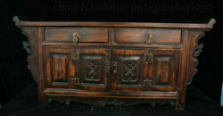23 Old Chinese Dynasty Huanghuali Wood Carving Auspicious Cabinet Table Statue