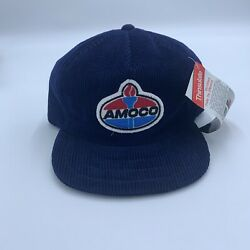 Rare Vintage Amoco Gas Oil 3m Nwt Trucker Hat Cap Embroidered Patch Corduroy