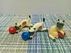 3 Bone China Kittens Playing with ball Japan red blue Cat Siamese Miniatures
