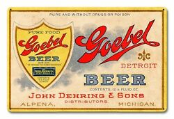 Goebel Beer John Dehring And Sons Detroit 18 Heavy Duty Usa Made Metal Adv Sign