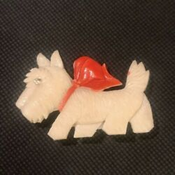 Vintage Art Deco Celluloid Westie Dog Brooch With Paste And Red Bow Decoration