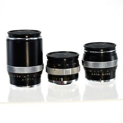 Three Contarex Lenses In Case Zeiss 25mm Distagon 50mm Planar 135mm Sonnar +more