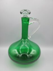 Blenko Emerald Green Bulbous Squat Glass Decanter Clear Stopper And Handle
