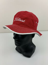 Titleist Red Bucket Hat Adult Sz S M Golf Sun Cap Spell Out Embroidered Logo EUC $29.99